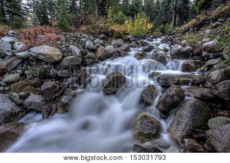 Varden Creek flowing over rocks in the Washington Cascades on Hwy 20 west of Winthrop Washington.