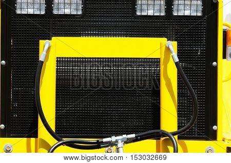 Colour agricultural machine part horizontal close up background