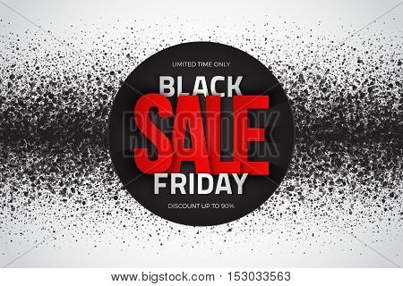 Black friday sale vector background. Illustration with 3d red and silver letters for business, marketing and holiday. Abstract dark gray round ash particles on white background. Spray effect