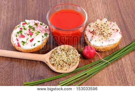 Freshly Sandwich With Cottage Cheese And Vegetables, Tomato Juice, Healthy Nutrition