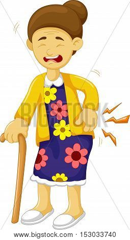 cartoon old grandmother was lumbago for you design