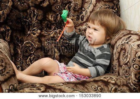 Child Playing Emotional Imagining Something