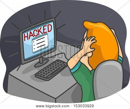 Illustration of a Frustrated Man Clutching His Hair After His Account was Hacked