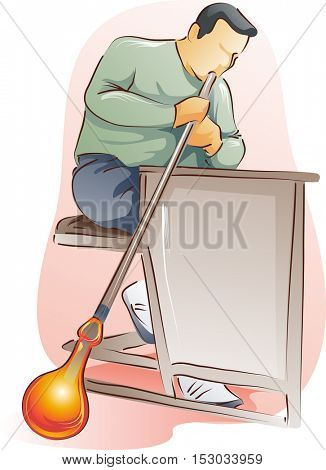 Illustration of a Male Glass Blower in a Workshop Working on an Orange Glass