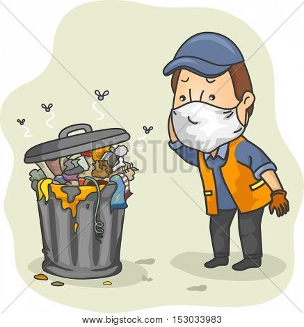 Illustration of a Man Dressed as a Trash Collector Scratching His Head While Checking a Pile of Stinky Garbage