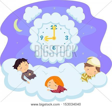 Whimsical Illustration of Stickman Kids in Pajamas Sleeping on a Bed of Clouds