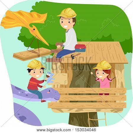 Stickman Illustration of Kids Making a Tree House with the Help of Their Dad and a Large Purple Dinosaur
