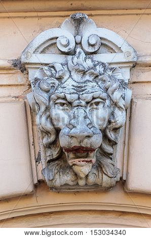 Bas-relief of lion's head on the wall of old building in Odessa Ukraine
