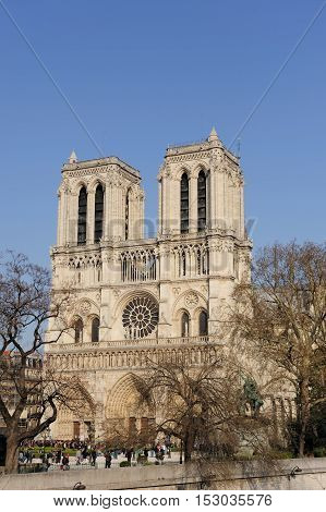 Face of Notre Dame Cathedral, Paris, France