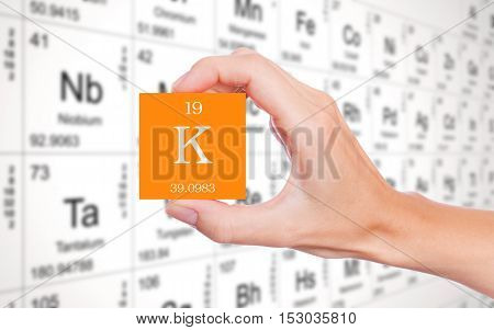 Potassium symbol handheld in front of the periodic table