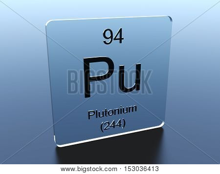 Plutonium symbol on a glass square 3D render
