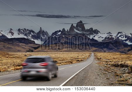 Blurred car traveling on the road to Los Glaciares National Park, Patagonia, Argentina