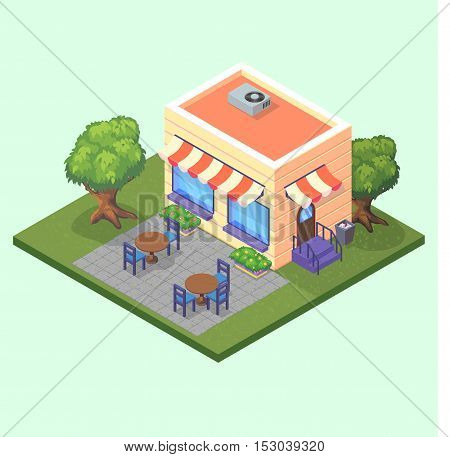 Isometric cute restaurant cafe building with tables chairs and trees 3D vector illustration eps10