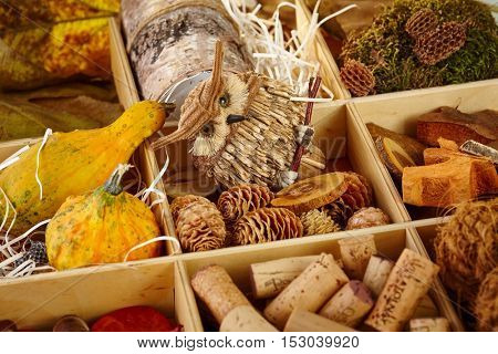 Different autumn decoration accessories stored in a wooden compartment.