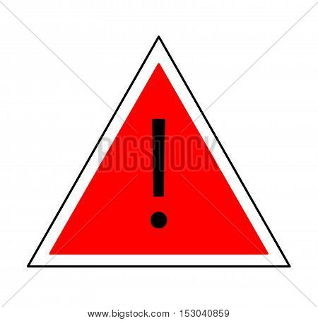 Exclamation Mark Icon. A vector icon of an exclamation mark on a red triangle background.