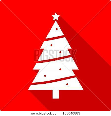 Christmas Tree Flat Icon. A vector flat icon illustration of a Christmas tree.
