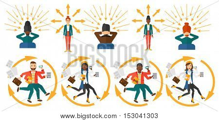 Business people coping with multitasking. Businessman having skills of multitasking. Businessman doing multiple tasks. Multitasking concept. Set of vector illustrations isolated on white background.