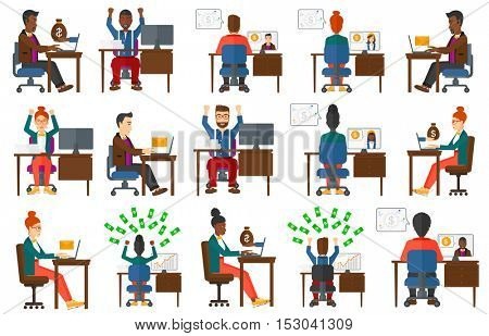 Businessman concluding online business deal. Man earning online. Businessman using a computer for online business. Online business concept. Set of vector illustrations isolated on white background.