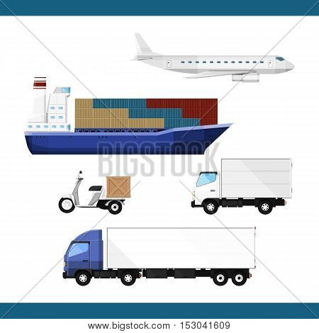 Set of transport to deliver cargo isolated over white. Transportation service. Flat vector illustration 10 EPS without transparency