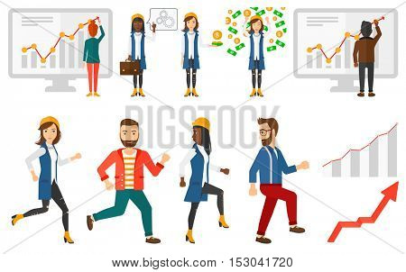 Wealthy business woman enjoying the rain of money. Happy excited business woman standing under money rain. Business woman catching money. Set of vector illustrations isolated on white background.