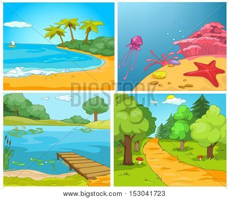 Hand drawn vector cartoon set of summer landscapes. Colourful cartoons of summer backgrounds. Cartoon of tropical island. Background of summer forest with footpath. Background of lake with pier.