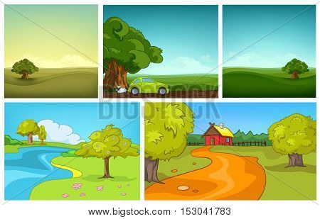 Hand drawn vector cartoon set of summer landscapes. Colourful cartoons of summer backgrounds. Cartoon background of field. Cartoon background of countryside with house. Cartoon background of meadow.