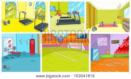 Hand drawn cartoon set of sport infrastructure. Cartoons of gym and sport stadium backgrounds. Vector cartoon set of fitness center interiors. Backgrounds of basketball court and football stadium.
