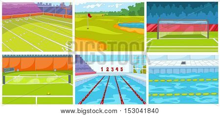 Hand drawn vector cartoon set of sport infrastructure. Cartoon backgrounds of sport stadiums. Backgrounds of golf course, tennis court. Cartoon of swimming pool. Backgrounds of rugby, football stadium