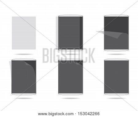 screen protector glue step by step vector illustration
