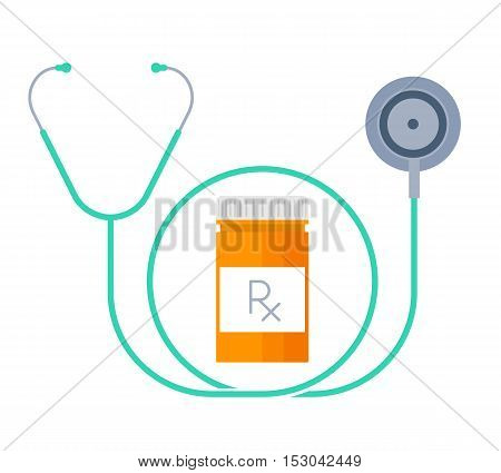 A stethoscope and container with drugs. Medicine and treatment flat concept. A bottle with rx prescription and phonendoscope vector illustration. Design element for medical and health care infographic