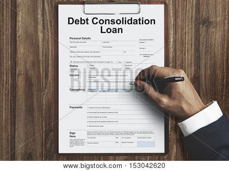 Debt Consolidation Loan Financial Concept
