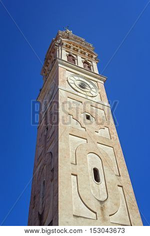 Ancient venetian Santa Maria Formosa church belfry built in a beautiful baroque style
