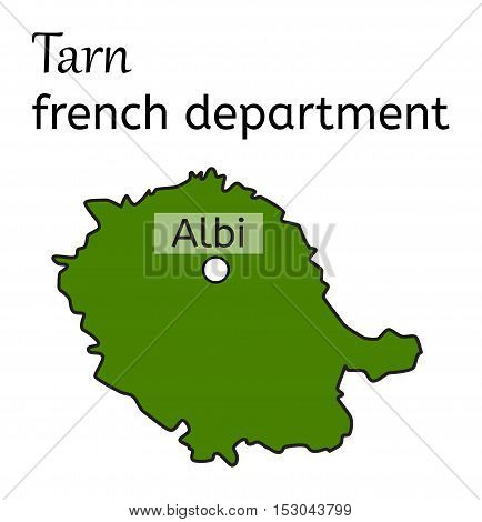 Tarn french department map on white in vector