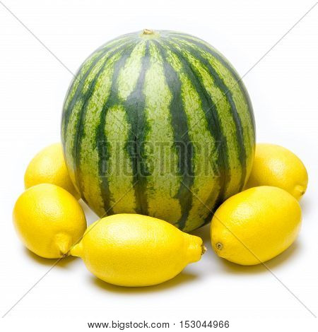 One Green Striped Watermelon With Lemons