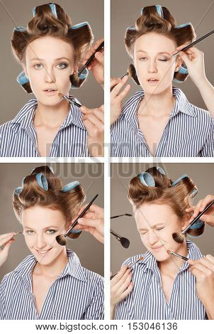 Four images of a young woman in curler in her hair and one eye with make-upshe is expressing different emotions. With multiple hands applying make up