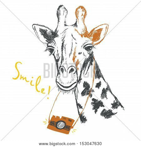Fun sketch illustration of a giraffe photographer. Vector graphics for design of greeting cards, invitations, t-shirts, bags, posters.