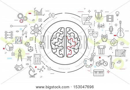 Vector icons of human brain activity. Concept for left and right hemisphere of human brain intellectual work, intelligence, productivity and creativity.