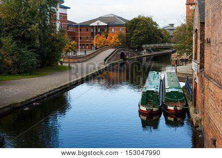 NOTTINGHAM ENGLAND - OCTOBER 19: Nottingham canal with the Magistrates court and Family And Youth court precinct behind. In Nottingham England. On 19th October 2016.