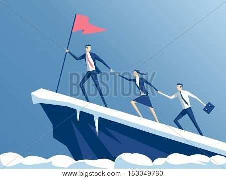 business people climb to the top of the mountain leader helps the team to climb the cliff and reach the goal business concept of leadership and teamwork