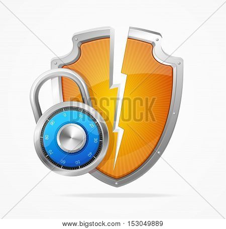 Hacker Attack Shield and Blue Combination Lock. Concept of Cyber Protection and Security. Vector illustration