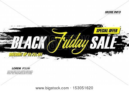 Black Friday Sale. Special offer banner with handwritten element, discount up to 75 percent off. Banner for business, promotion and advertising. Vector illustration.