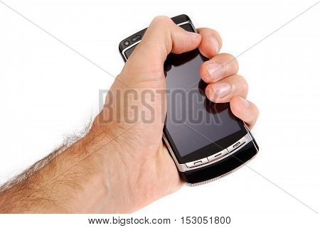 glossy black cell phone in a man's hand