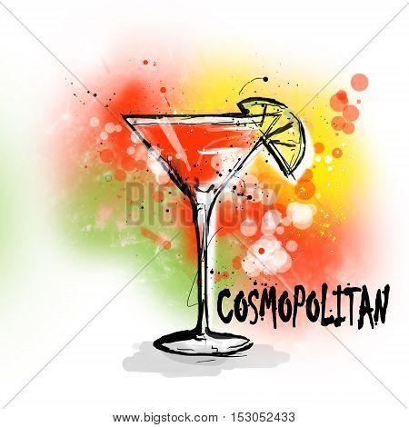Hand drawn illustration of cocktail. COSMOPOLITAN cocktail.