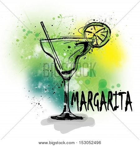 Hand drawn illustration of cocktail. MARGARITA cocktail.