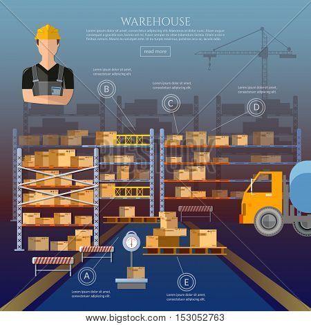 Warehouse cargo boxes storing at warehouse shipment of goods logistic storage shipment industry and manufacturing vector illustration