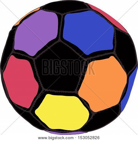 doodle drawn Color futball ball on white background