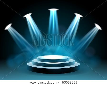 Hollywood lighting stage vector concert with lights for entertainment performance