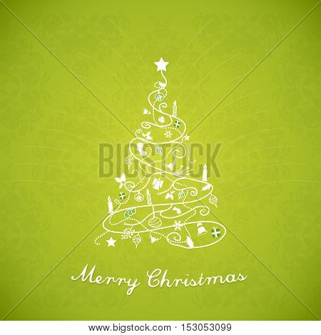 Christmas tree created of Christmas simple decorations with Merry Christmas text under.