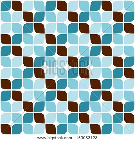 Retro vintage style background blue and brown geometric pattern