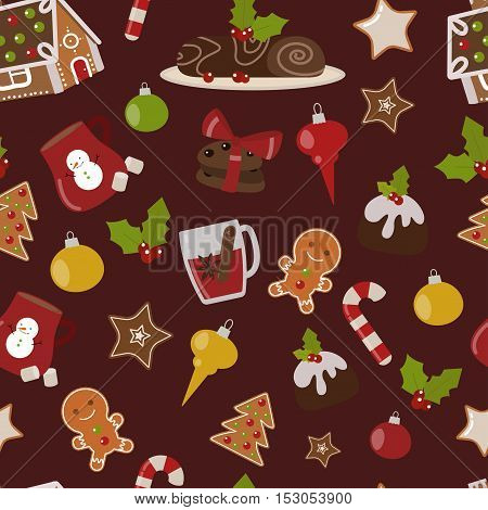 Sweet Christmas seamless pattern cake cookie isolated on white. Traditional Christmas sweet cake holliday vector. Cake for New Year food sweet vector. Food fresh cake cookie isolated